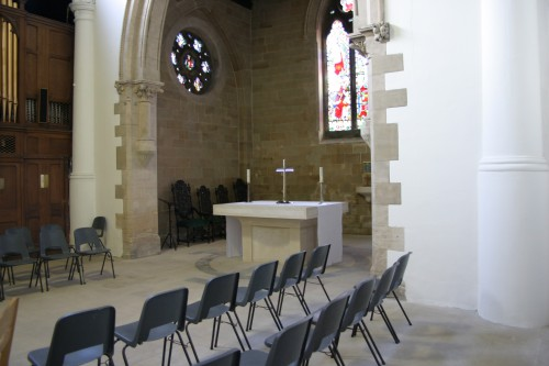 The raised area of the church.