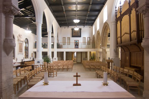 A shot of the church, looking out over the altar.