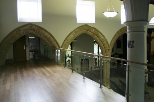 The first floor gallery of St Giles' Church.