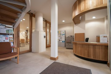 The reception area at St Giles' Centre.