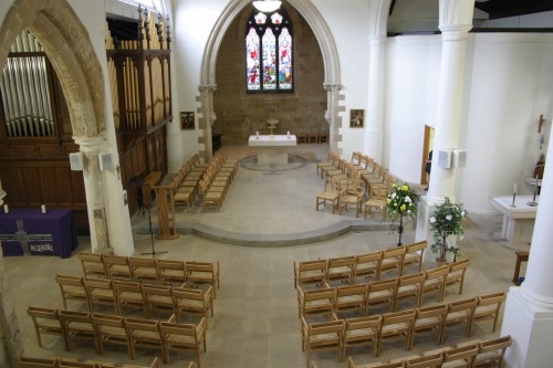The interior of St Giles' Church.