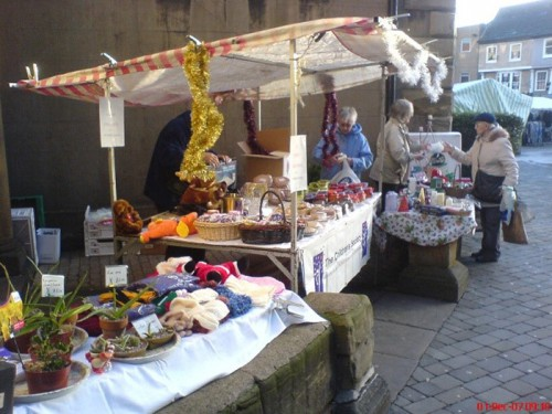 A photo of the outside stall area at St Giles' Church, Pontefract.